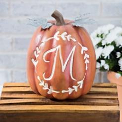 Carved Orange Monogram M Pumpkin