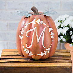 Carved Orange Monogram M Pumpkin
