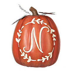 Carved Orange Monogram N Pumpkin