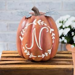 Carved Orange Monogram N Pumpkin
