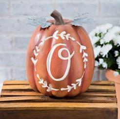Carved Orange Monogram O Pumpkin