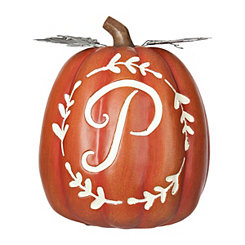 Carved Orange Monogram P Pumpkin