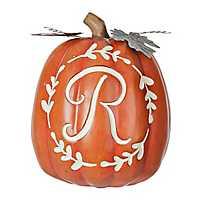 Carved Orange Monogram R Pumpkin