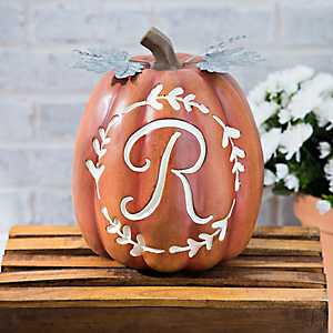 Carved Orange Monogram R Pumpkin
