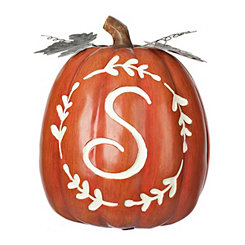 Carved Orange Monogram S Pumpkin
