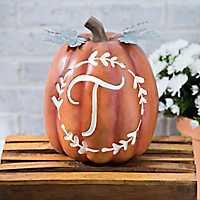 Carved Orange Monogram T Pumpkin