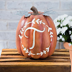 Carved Orange Monogram T Pumpkin