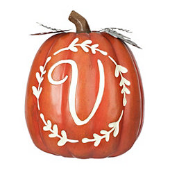 Carved Orange Monogram V Pumpkin