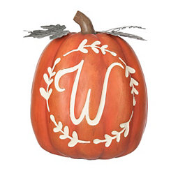 Carved Orange Monogram W Pumpkin