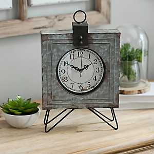 Galvanized Square Tabletop Clock