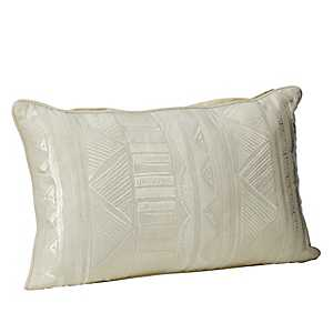 Natural Embroidered Tribal Accent Pillow