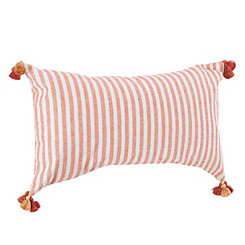 Cinnamon Tasseled Shimmer Stripe Accent Pillow