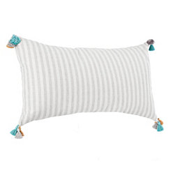 Gray Tasseled Shimmer Stripe Accent Pillow