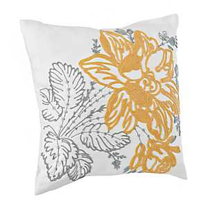 Embroidered Yellow and Gray Pillow
