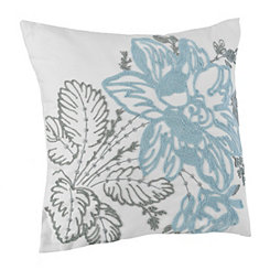 Blue and Gray Floral Embroidered Pillow