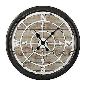 Rustic Woodgrain Compass Wall Clock
