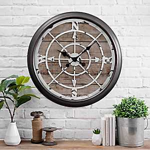 Rustic Woodgrain Compass Wall Clock
