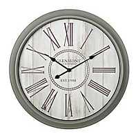 Gray and Cream Shiplap Wall Clock