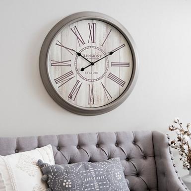 gray and cream shiplap wall clock - Decorative Wall Clocks