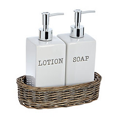 Soap and Lotion Pump Set In Wicker Basket