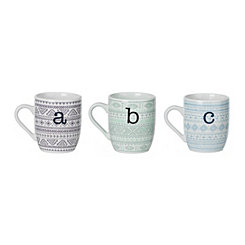 Aztec Printed Monogram Mugs