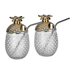 Gold Top Glass Pineapple Sipper Tumblers, Set of 2
