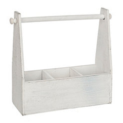White Wooden Utensil Caddy And Paper Towel Holder
