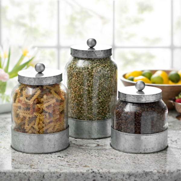 Set of 3 Galvanized Metal and Glass Canisters