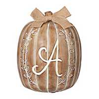 White Monogram Pumpkin Statues