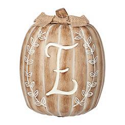 White Monogram E Pumpkin Statue