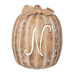 White Monogram N Pumpkin Statue