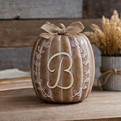White Monogram B Pumpkin Statue
