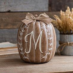 White Monogram M Pumpkin Statue
