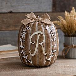 White Monogram R Pumpkin Statue