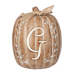 White Monogram G Pumpkin Statue