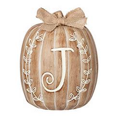 White Monogram J Pumpkin Statue
