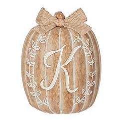 White Monogram K Pumpkin Statue