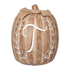 White Monogram T Pumpkin Statue