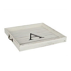 Whitewashed Square Wooden Monogram A Tray