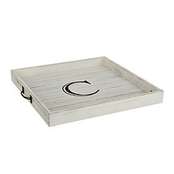 Whitewashed Square Wooden Monogram C Tray