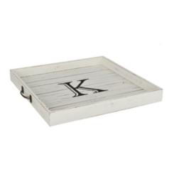 Whitewashed Square Wooden Monogram Trays
