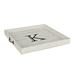 Whitewashed Square Wooden Monogram K Tray