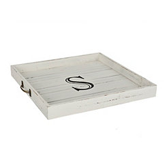 Whitewashed Square Wooden Monogram S Tray