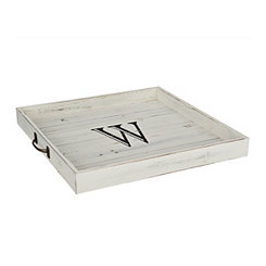 Whitewashed Square Wooden Monogram W Tray