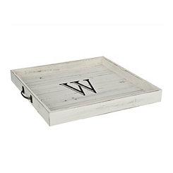 Whitewashed Square Wooden Monogram W Tray