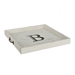 Whitewashed Square Wooden Monogram B Tray