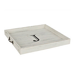Whitewashed Square Wooden Monogram J Tray