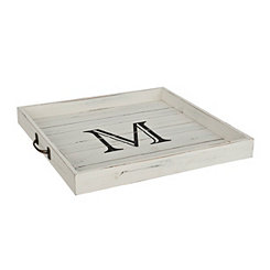 Whitewashed Square Wooden Monogram M Tray