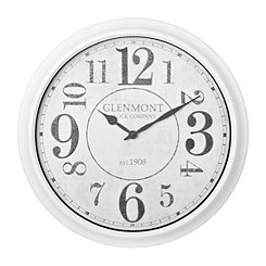 White and Faux Galvanized Metal Wall Clock