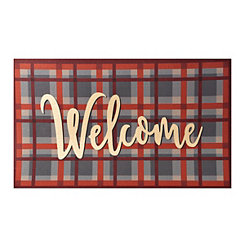 Gold Foiled Plaid Welcome Mat